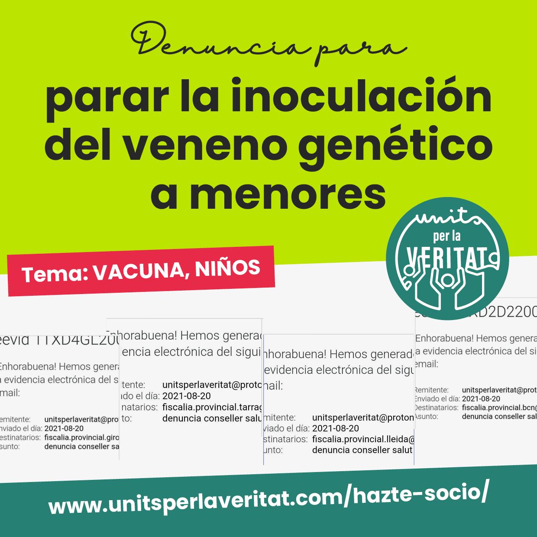 Entrada – Denuncia para parar la inoculación del veneno genético a menores