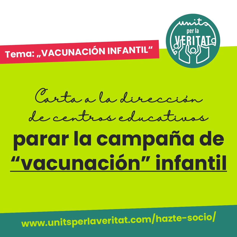 """Carta a la direccion de centros educativos parar la campaña de """"vacunacion"""" infantil"""
